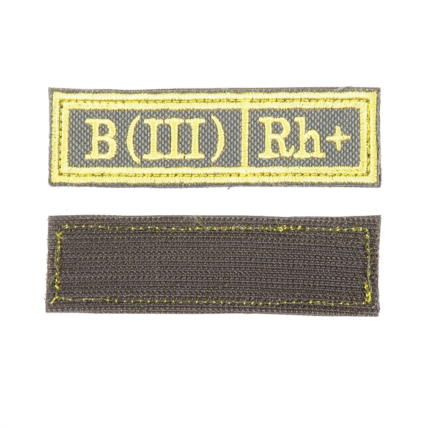 Шеврон KE Tactical Группа крови B (III) Rh+ прямоугольник 2,5х9,5 см олива/желтый - фото 10011