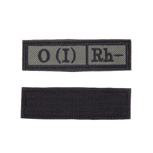 Шеврон Группа крови О (I) Rh- прямоугольник 2,5х9 см олива/черный - фото 10018