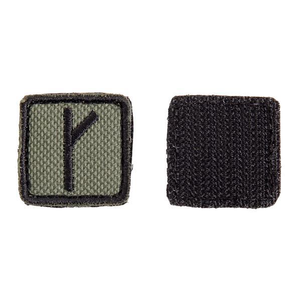 Шеврон KE Tactical Славянская руна Крада (Алатырь) квадрат 2,5 см олива/черный - фото 10111