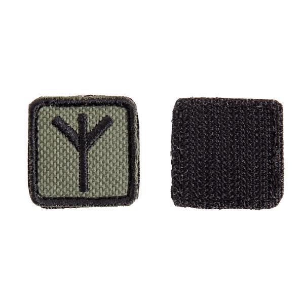 Шеврон KE Tactical Славянская руна Мир (Чернобог) квадрат 2,5 см олива/черный - фото 10114