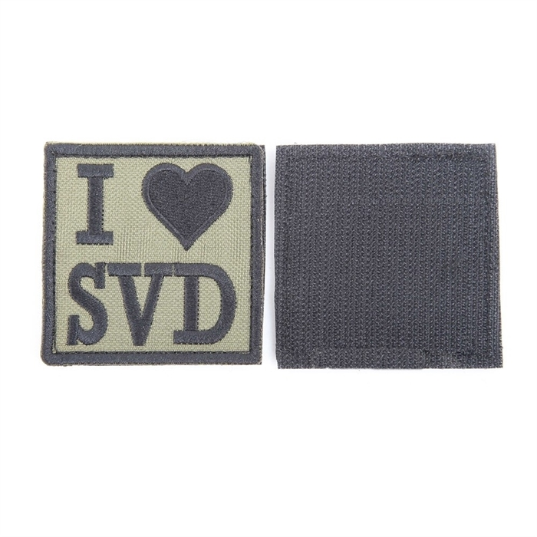 Шеврон KE Tactical I Love SVD квадрат 6 см олива/черный - фото 12882