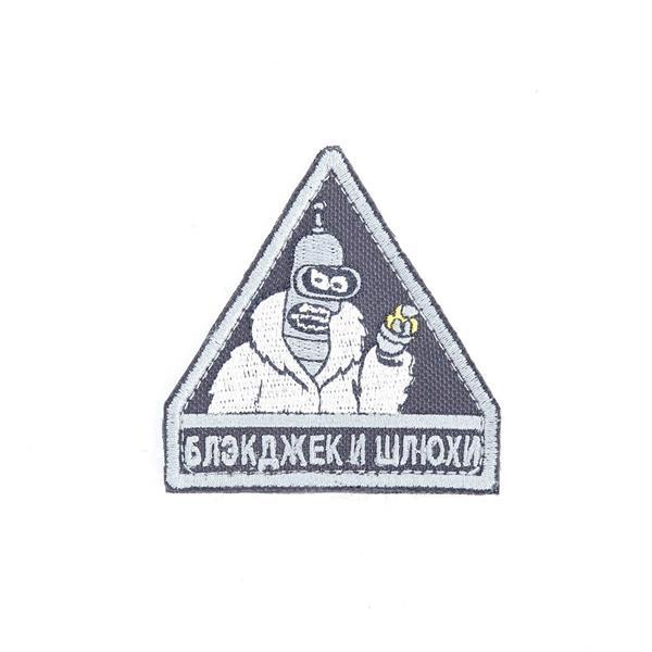 Шеврон KE Tactical Блэкджек треугольник 6,5 см черный/серый - фото 12912