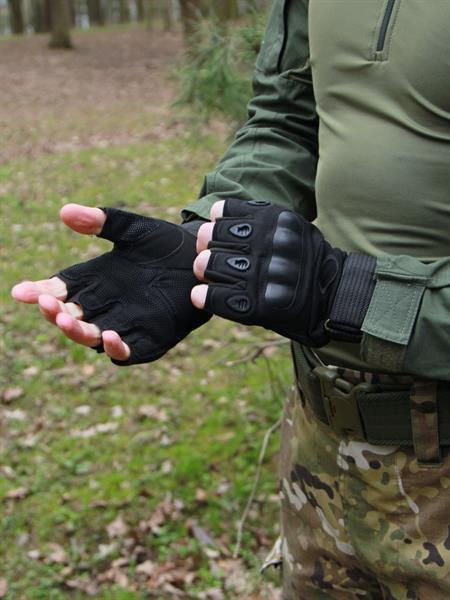 Перчатки КМФ78 тактические без пальцев черные - фото 13644