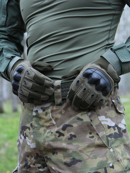 Перчатки КМФ78 тактические с защитой костяшек олива - фото 13660