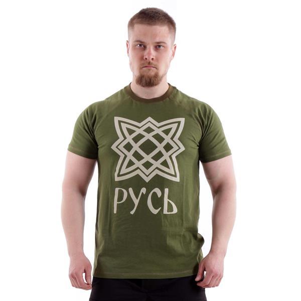 Футболка Keotica 100% хлопок Русь олива с белым - фото 5506