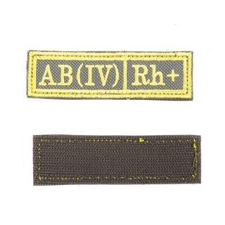 Шеврон KE Tactical Группа крови AB (IV) Rh+ прямоугольник 2,5х9,5 см олива/желтый