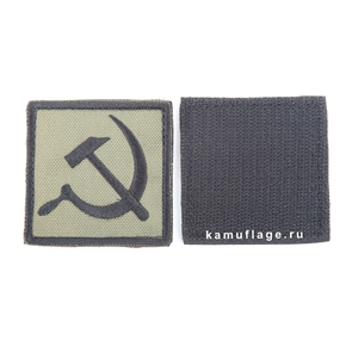 Шеврон KE Tactical Серп и Молот квадрат 6 см олива/черный