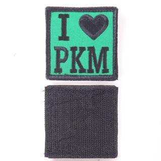 Шеврон KE Tactical I Love PKM квадрат 6 см зеленый/черный
