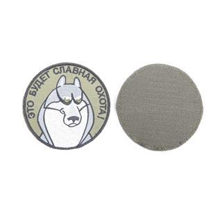 Шеврон Акелла круглый 9 см олива/серый/белый
