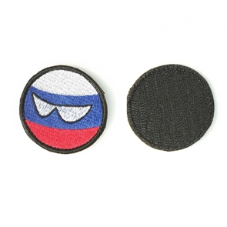 Шеврон KE Tactical Шар с глазами Триколор круглый 5 см белый/синий/красный