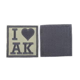 Шеврон KE Tactical I Love AK квадрат 6 см олива/черный