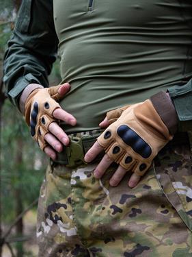 Перчатки КМФ78 тактические без пальцев койот