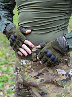 Перчатки КМФ78 тактические без пальцев олива
