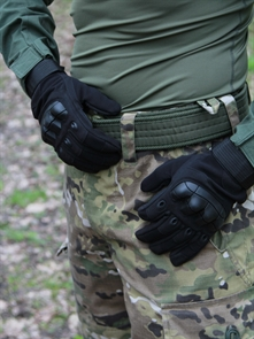 Перчатки КМФ78 тактические с защитой костяшек черные