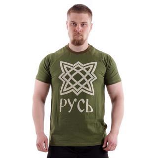 Футболка Keotica 100% хлопок Русь олива с белым