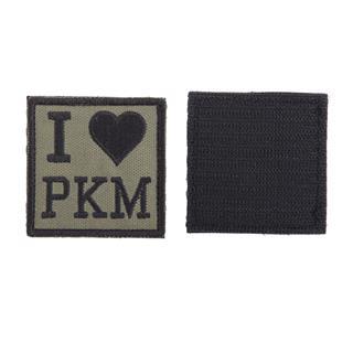 Шеврон KE Tactical I Love PKM квадрат 6 см олива/черный