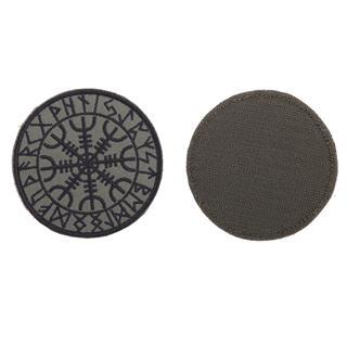 Шеврон Гальдрастав (Щит силы) круглый 8 см олива/черный