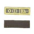 Шеврон KE Tactical Группа крови O (I) Rh- прямоугольник 2,5х9,5 см олива/желтый - фото 10014