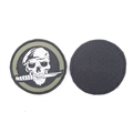 Шеврон KE Tactical Череп с ножом круглый 8 см олива/черный/белый - фото 12900