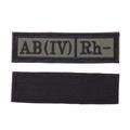Шеврон Группа крови AB (IV) Rh- прямоугольник 2,5х9 см олива/черный - фото 9997
